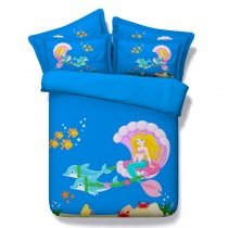 Bright Colorful Beautiful Mermaid Print Cartoon Themed Cute Girls Twin, Full, Queen, King Size Bedding Sets