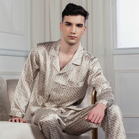 Gold Geometric Circles Print 100% Silk Lapel Open Collar Long Shirt and Pants Luxury Gorgeous Pajamas for Men Boys L XL XXL