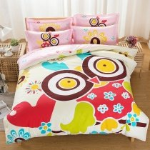 Girls Bright Colorful Owl Print Hipster Style Cartoon Themed 100% Cotton Full Size Bedding Sets