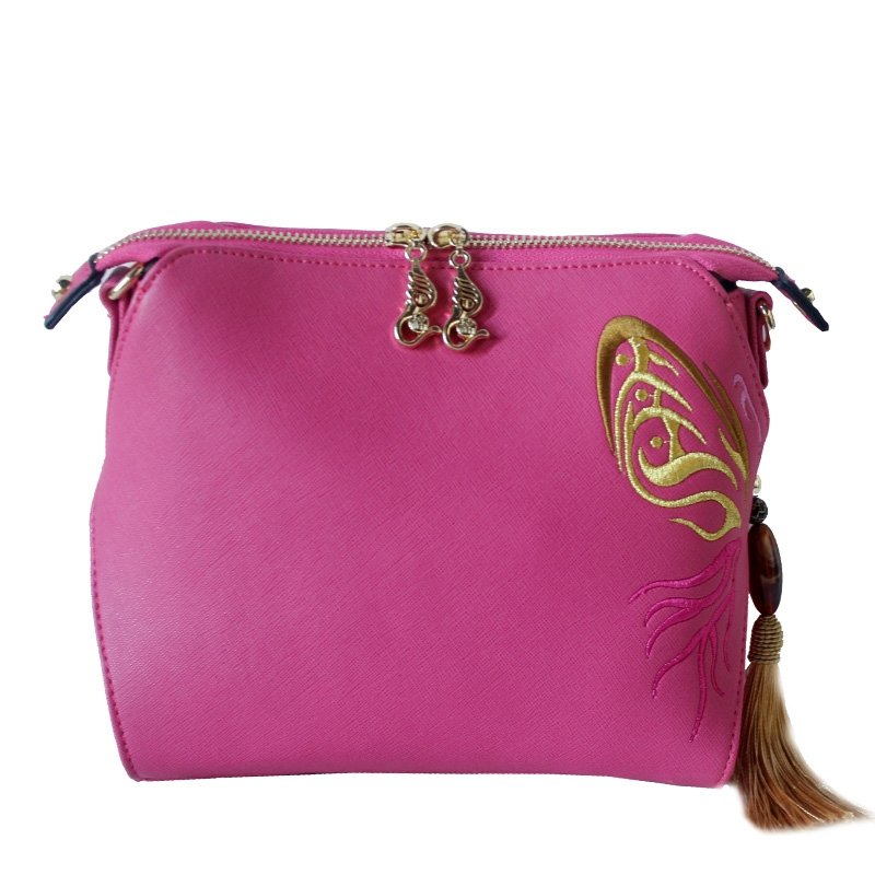 Bohemian Hot Pink Patent Leather Tassel Vintage Embroidered Folklore Simply Chic Women Small Casual Shell Crossbody Shoulder Satchel Bag