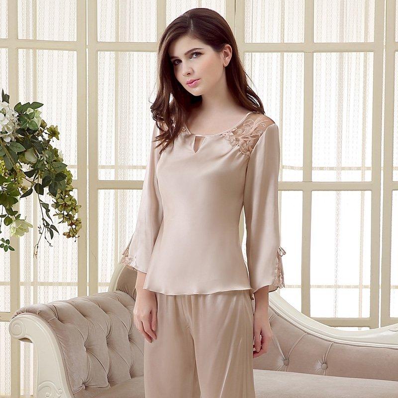 Khaki 100% Mulberry Silk Lace Embroidery 2 Pieces Luxury Pajama Set for Feminine Girly M L XL XXL