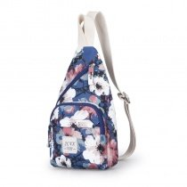 Durable Colorful Oxford Girls Crossbody Shoulder Chest Bag Korean Style Floral Print Zipper Small Casual Travel Sling Backpack