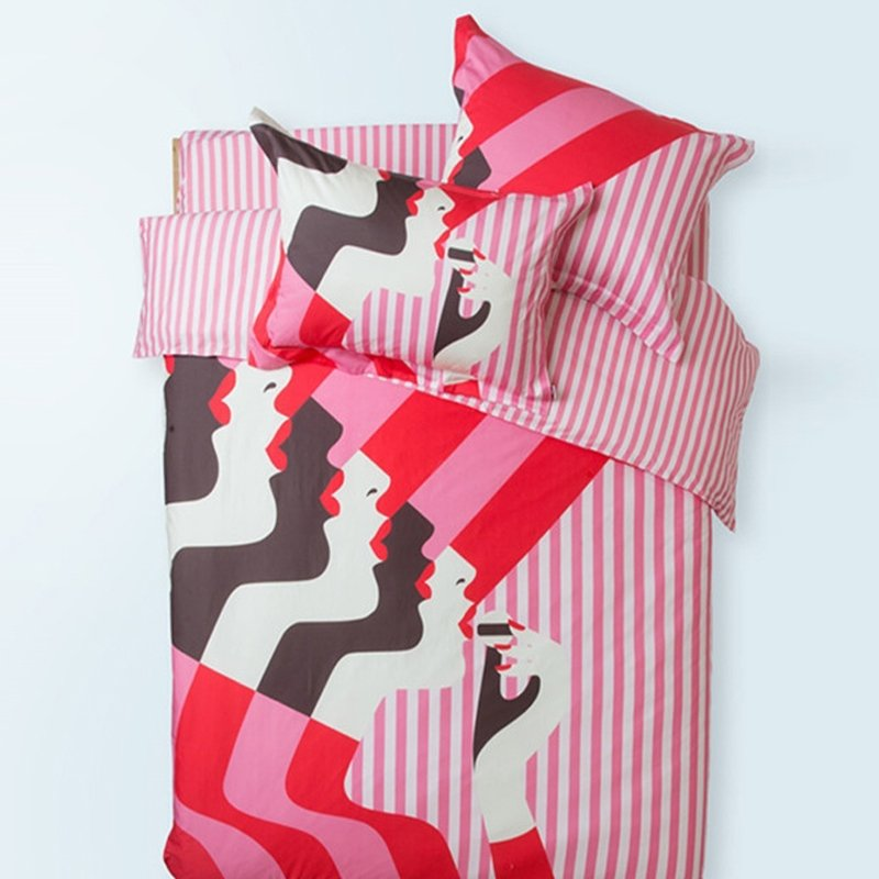 High Fashion Girls Hot Pink Coffee Red and White Reversible 100% Cotton Full, Queen Size Bedding Sets