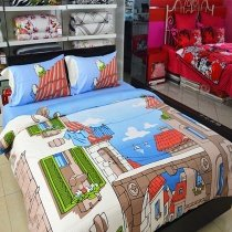 Sky Blue Coffee Orange Green and White Bright Colorful City Chic Coastal Style 100% Cotton Twin, Full, Queen Size Bedding Sets
