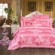 French Pink Girls Castle and Flower Pattern Princess Style Sparkly Feminine Feel Luxury Jacquard Satin Full, Queen Size Bedding Sets
