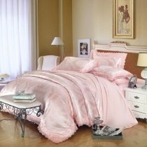 Pale Pink Sequin Tribal Pattern Retro Lace Design Upscale Jacquard Satin Full, Queen Size Bedding Sets