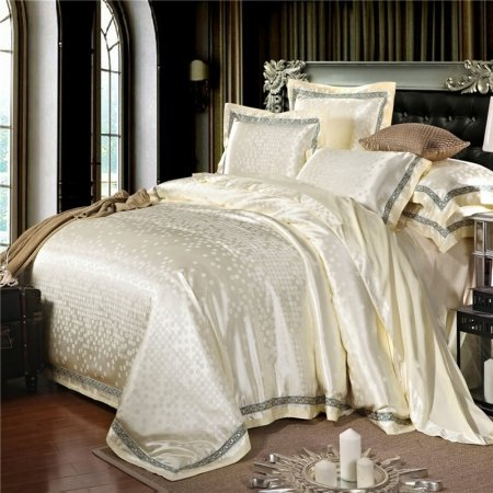 Luxury Beige Sparkly Polka Dot Design Hotel Style Stylish Embroidered Design Jacquard Satin Fabric Full, Queen Size Bedding Sets