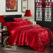 Dark Red Yorkshire Rose Pattern Romantic and Elegant Embroidered Design Upscale Jacquard Satin Fabric Full, Queen Size Bedding Sets