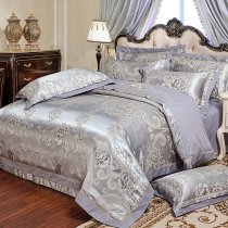 Sliver and Gray Antique Paisley and Flower Design Embroidered Western Style Jacquard Satin Full, Queen Size Bedding Sets