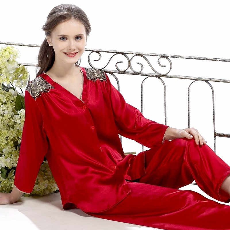 Crimson Red 100% Pure Silk Embroidered V-neck Long T-Shirt Pants Luxury Pajamas for Feminine Girly M L XL