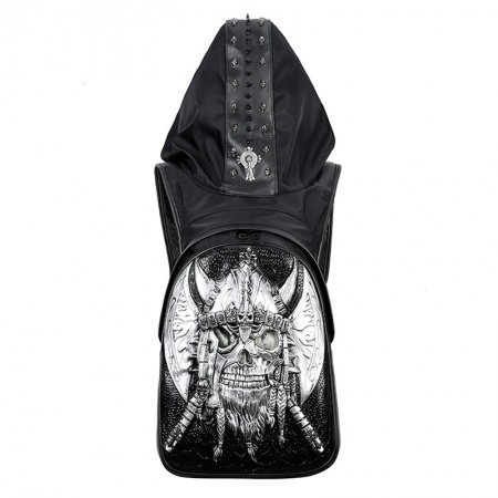 Black Embossed Leather Metallic Silver Pirate Masculine Large Travel Backpack Personalized Punk Skull Studded Cool Boys School Book Bag