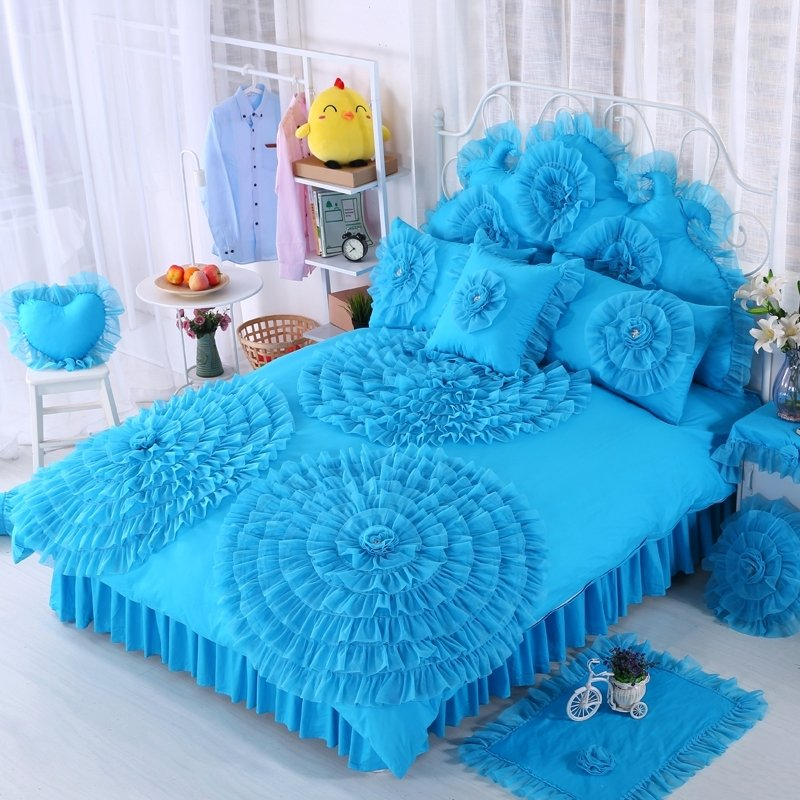 High Fashion Peacock Blue Gathered Design Victorian Lace Princess Style Elegant Girls 100% Cotton Twin, Full, Queen Size Bedding Sets