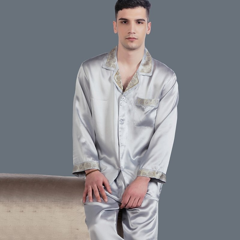 Silver Grey 100% Pure Silk Long Sleeve Single-Breasted Lapel Shirt & Pants Luxury Homewear Pajamas for Masculine L XL XXL