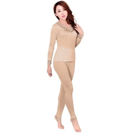 Desert Sand 100% Pure Silk Long Sleeve Shirt & Full Length Pants Warm Spring Autumn Pajamas for Feminine M L XL XXL