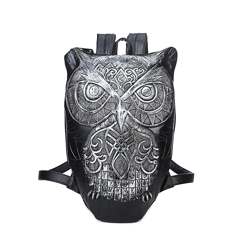 Black Leather Engraved Metallic Silver Owl-shaped Travel Backpack Punk Rock and Roll Personalized Animal Cool Boys 14 Inch Laptop Bag