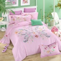 Lavender Pink Turquoise and Purple Butterfly Print Romantic Stylish Cute Style Soft Cotton Full, Queen Size Bedding Sets