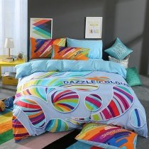 Aqua Purple Red Green and Blue Bohemian Hippie Style Unique Modern Chic Reversible 100% Cotton Full, Queen Size Bedding Sets