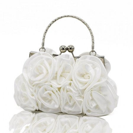 Elegant White Ruffle Velvet Evening Clutch Vintage Rose Flower Metal Handle Lady Small Tote Kiss Lock Chain Soft Crossbody Shoulder Bag