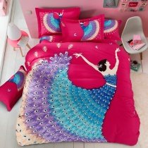 Girls Peacock Blue Hot Red and Purple Princess Style Elegant and Unique Soft 100% Brushed Cotton Full, Queen Size Bedding Sets
