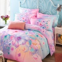 Soft Pink Aqua and Purple Beautiful Floral Print Pastel Style Elegant Girls 100% Organic Cotton Full, Queen Size Bedding Sets