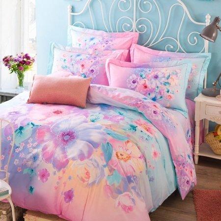 Soft Pink Aqua And Purple Beautiful Floral Print Pastel