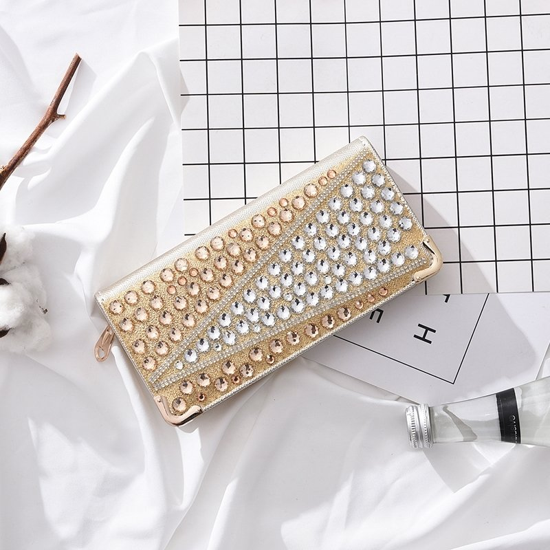 Gold Patent Leather Sparkle White Rhinestone Women Evening Clutch Gorgeous Western Bling Gold Hardware Zipper Long Wallet