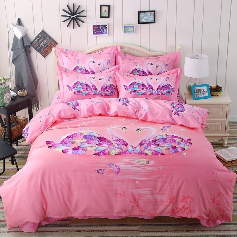 light pink and purple swan print pastel style full queen size bedding sets. Black Bedroom Furniture Sets. Home Design Ideas