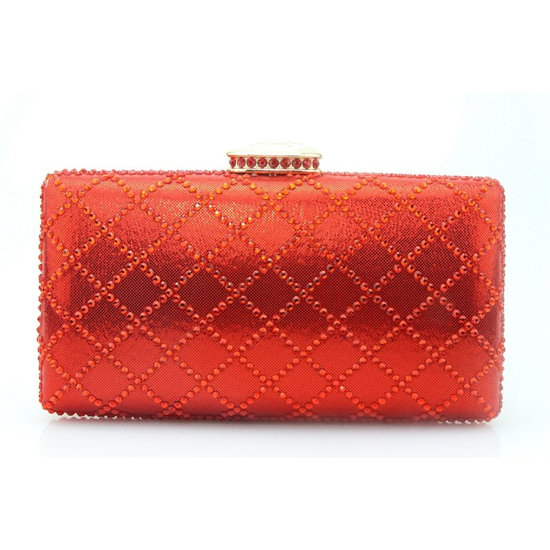 Coral Red Leather Quilted Lady Mini Hard Shell Evening Clutch Western Bling Rhinestone Vintage Lock Closure Chain Crossbody Shoulder Bag