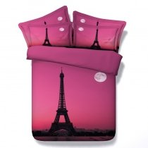 Girls Red-violet and Black Eiffel Tower Print Paris Themed French Chic Twin, Full, Queen, King Size Bedding Sets