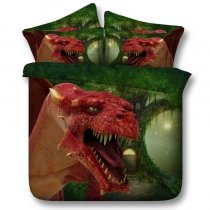 Emerald Green Yellow and Red Jurassic Animal Dinosaur Print Jungle Safari Themed Twin, Full, Queen, King Size Bedding Sets