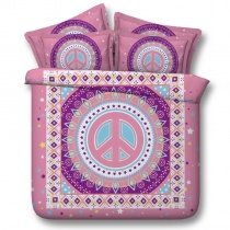Aqua Pink and Purple Peace Sign Print Beautiful Southwestern Style Twin, Full, Queen, King Size Bedding Sets