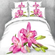 White Green and Pink Lily Flower Print Asian Country Chic 3D Design Twin, Full, Queen, King Size Bedding Sets
