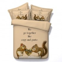 Brown and Tan Pretty Squirrel Print 3D Design Cute Animal Themed Twin, Full, Queen, King Size Bedding Sets