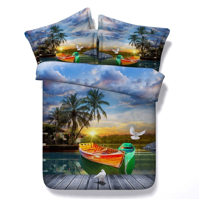 Beautiful Bright Colorful Boat And Palm, Palm Trees Queen Bedding Sets