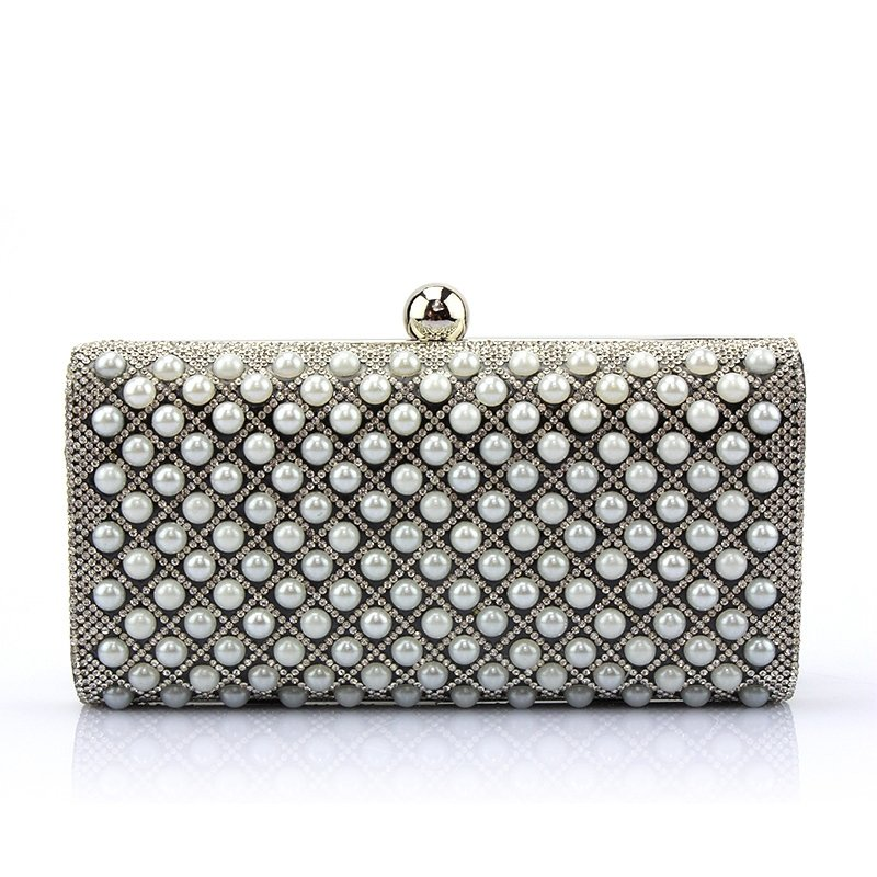 Gray Patent Leather Pearl Beaded Women Small Evening Clutch Bling Rhinestone Vintage Lock Closure Chain Crossbody Shoulder Bag