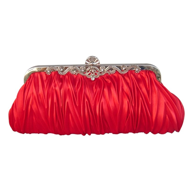 Shiny Red Ruffle Silk Satin Women Small Hard Shell Evening Clutch Bling Rhinestone Magnetic Closure Chain Crossbody Shoulder Bag