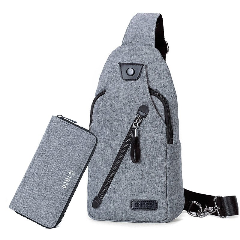 Silver Gray Oxford Boys Crossbody Shoulder Chest Bag Stylish Sewing Pattern Anti Theft Casual Travel Hiking Cycling Sling Backpack