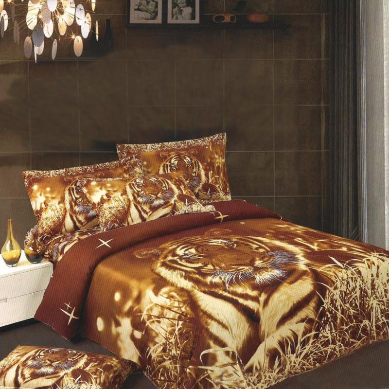 Brown and Rust Orange Animal Tiger Print Jungle Safari Twin, Full Size Kids Bedding Sets for Boys and Girls
