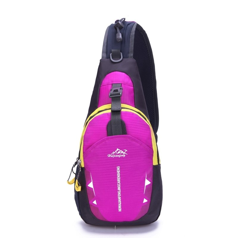Hot Pink Black Polyester with Yellow Trim Women Crossbody Shoulder Chest Bag Trend Monogrammed Anti Theft Casual Travel Sling Backpack