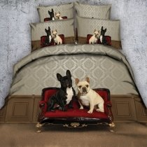 Funky Red Brown White and Black Cute Dog Print Lifestyle Animal Themed Twin, Full, Queen, King Size Bedding Sets