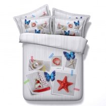 White Red Blue and Gray Sailboat, Seashell, Starfish and Butterfly Print Nautical Themed Coastal Life Twin, Full, Queen, King Size Bedding Sets