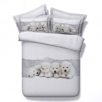 Grey and White Dog Print Funky Style Pretty Animal Themed Kids Twin, Full, Queen, King Size Bedding Sets