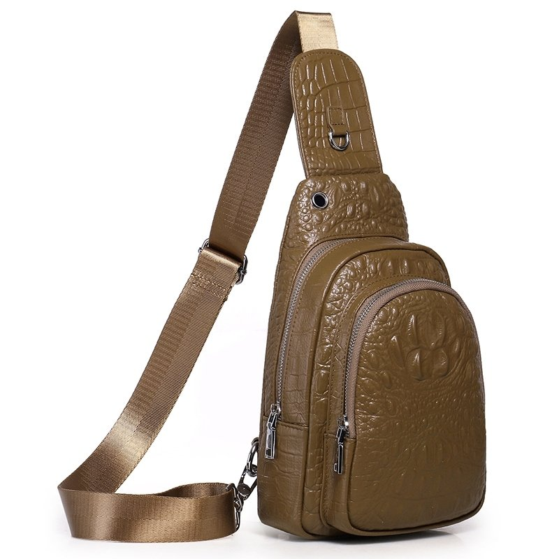 Taupe Brown Distressed Waxed Genuine Cowhide Leather Crossbody Shoulder Chest Bag Vintage Embossed Crocodile Small Sling Travel Backpack