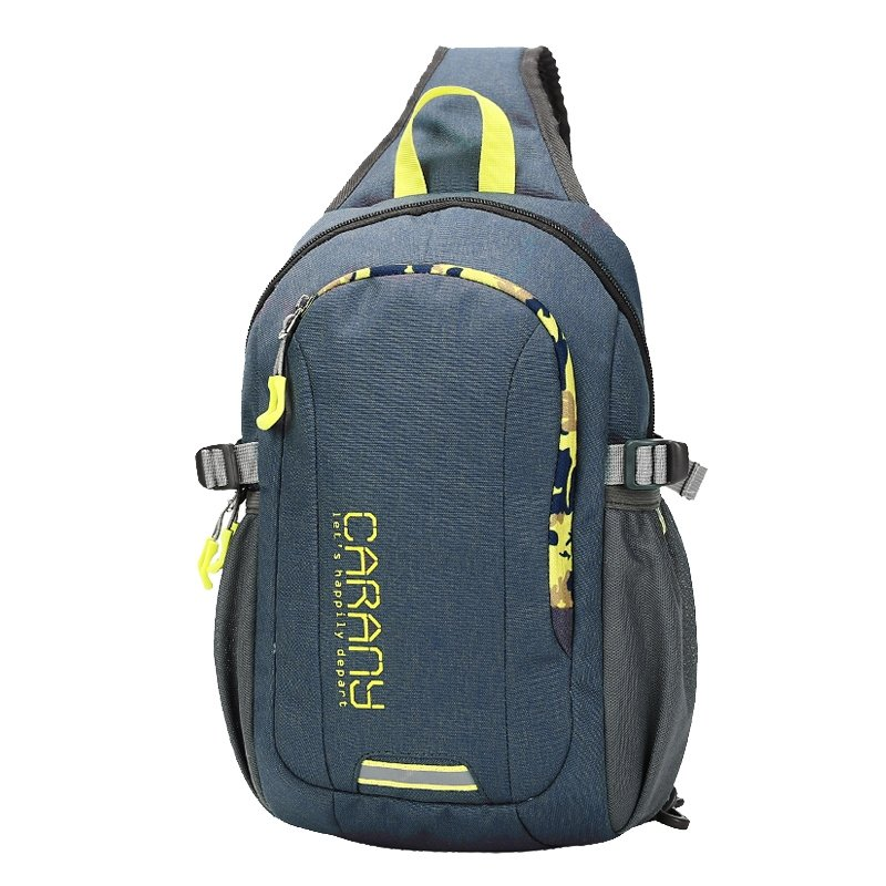 Durable Slate Blue Polyester Masculine Men Crossbody Shoulder Chest Bag Hipster Monogrammed Print Casual Travel Hiking Sling Backpack