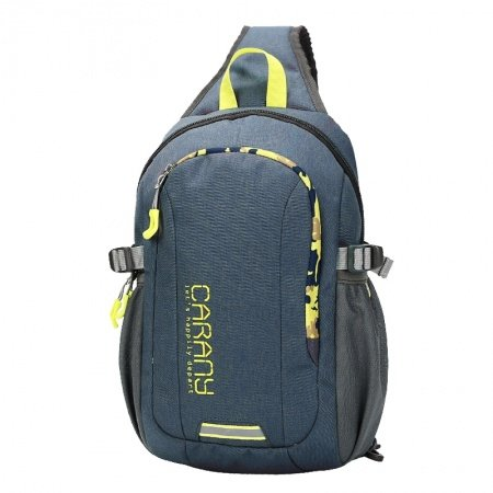 Durable Slate Blue Polyester Masculine Men Crossbody Shoulder Chest Bag Hipster Monogrammed Print Casual Travel Hiking Sling Backpack