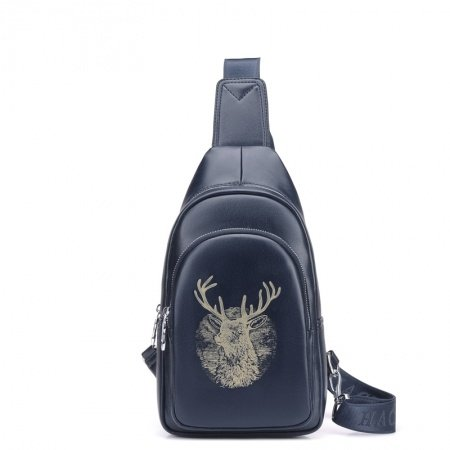 Dark Blue Distressed Waxed Leather Men Crossbody Shoulder Chest Bag Vintage Animal Deer Print Travel Hiking Cycling Sling Backpack