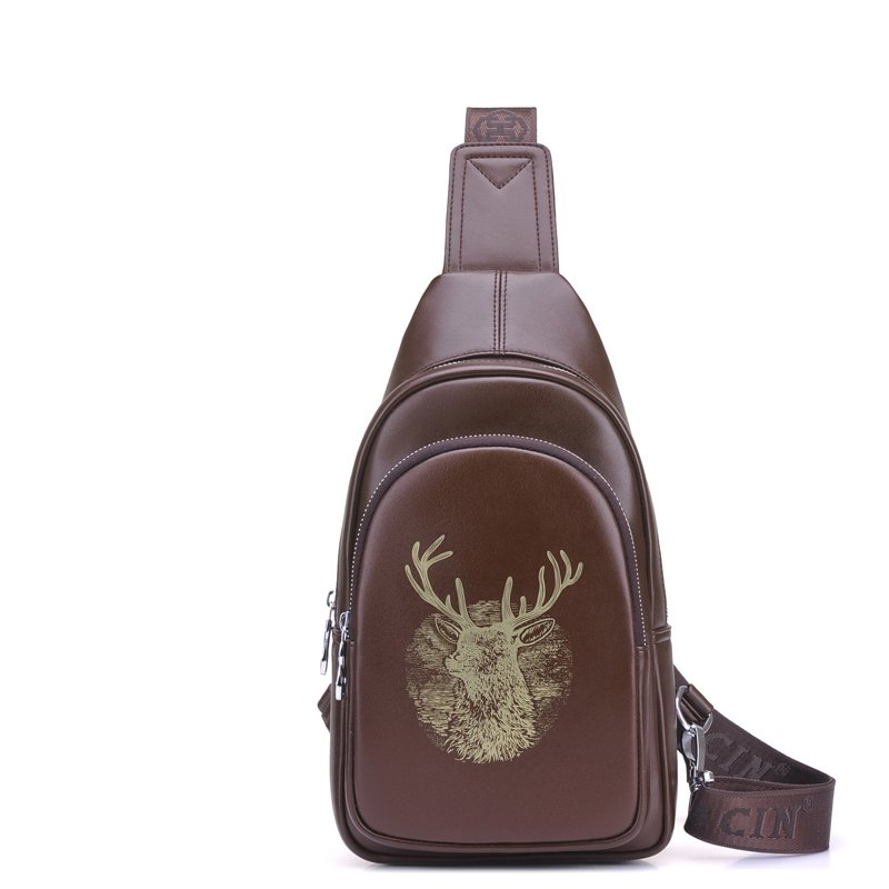 Vintage Chocolate Brown Distressed Waxed Leather Men Crossbody Shoulder Chest Bag Animal Deer Print Travel Hiking Cycling Sling Backpack