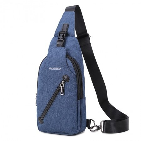 Trend Navy Blue Waxed Canvas Men Crossbody Shoulder Chest Bag Durable Sewing Pattern Anti Theft Travel Hiking Cycling Sling Backpack