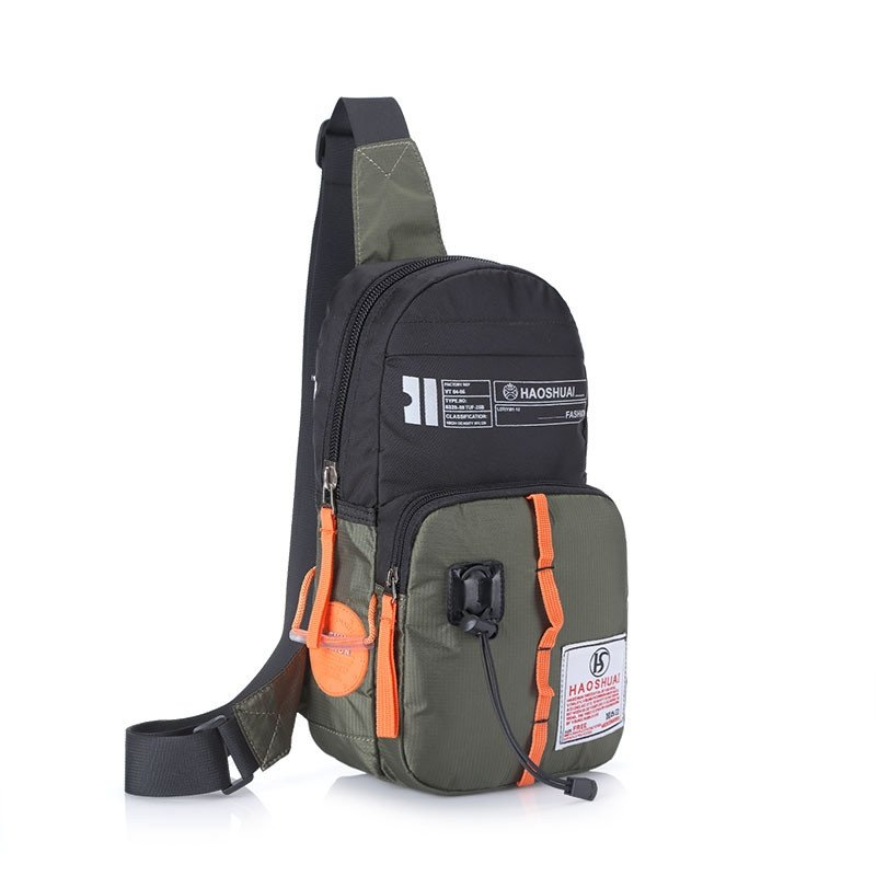 Black and Army Green Oxford Boys Crossbody Shoulder Chest Bag Hipster Monogrammed Sewing Pattern Travel Hiking Cycling Sling Backpack