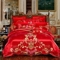 Traditional Red and Gold Embroidered Gothic Floral Pattern Chinese Wedding Themed Luxury Jacquard Satin Full, Queen Size Bedding Sets